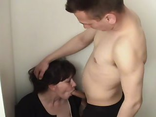 Russian Russian drunk mom sucks cock from a young guy
